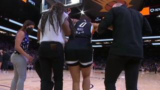 Kia Nurse falls awkwardly on play, injures knee