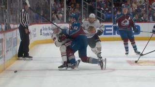 Gabriel Landeskog sends Kirby Dach into the boards with dangerous hit