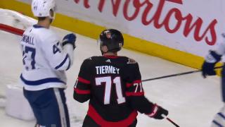 Tierney scores first goal of season for Senators, a redirect vs. Maple Leafs