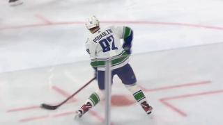 Podkolzin snipes puck past Hart for first career NHL goal