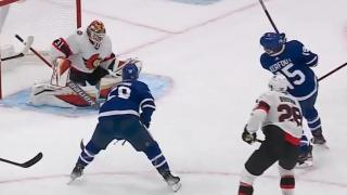 Nylander dishes backhand pass to Kerfoot for goal